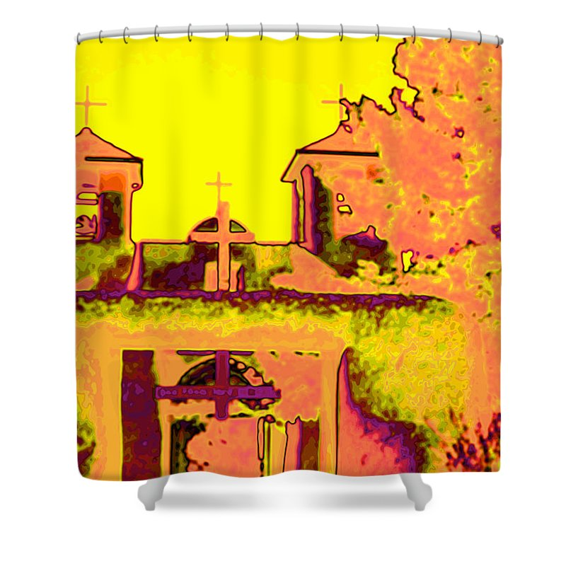 Santa Shower Curtain featuring the photograph Mission Pop by Charles Muhle
