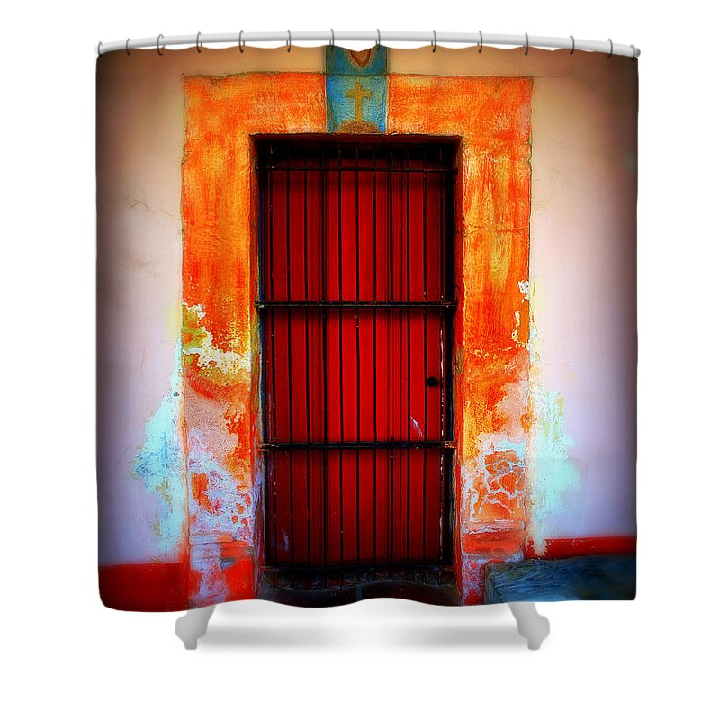 Door Shower Curtain featuring the photograph Mission Red Door by Perry Webster