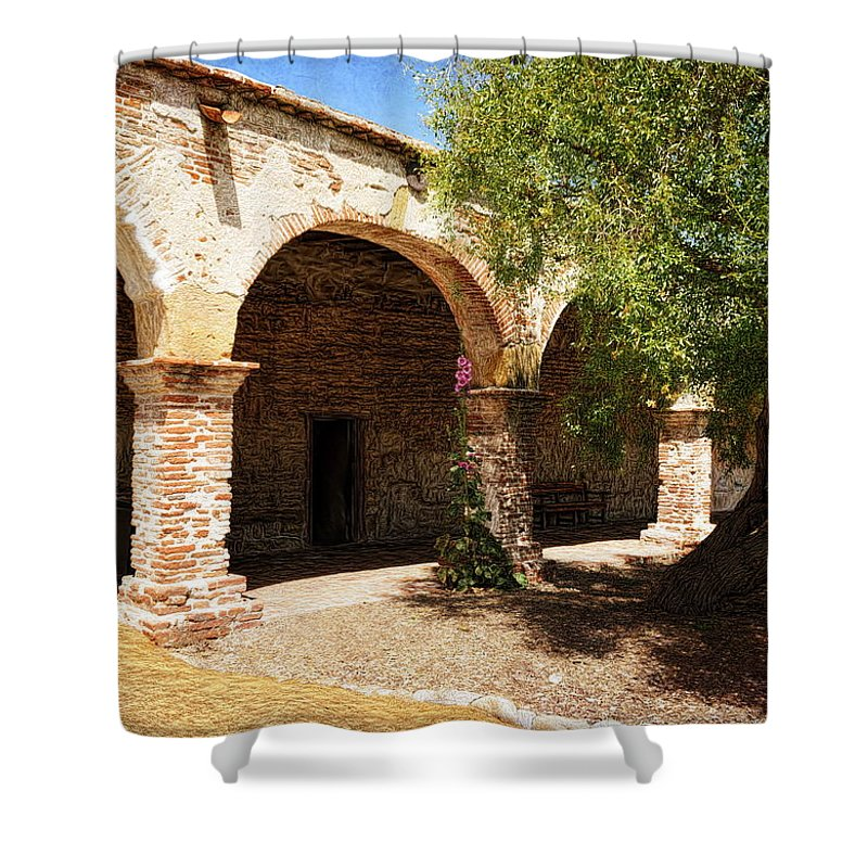 Mccarthy Art Shower Curtain featuring the photograph Mission San Juan Capistrano - Quiet Walkway by Glenn McCarthy Art and Photography