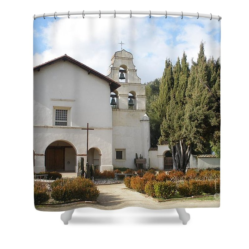 Misssion Shower Curtain featuring the photograph Mission San Juan by Jeanie Watson
