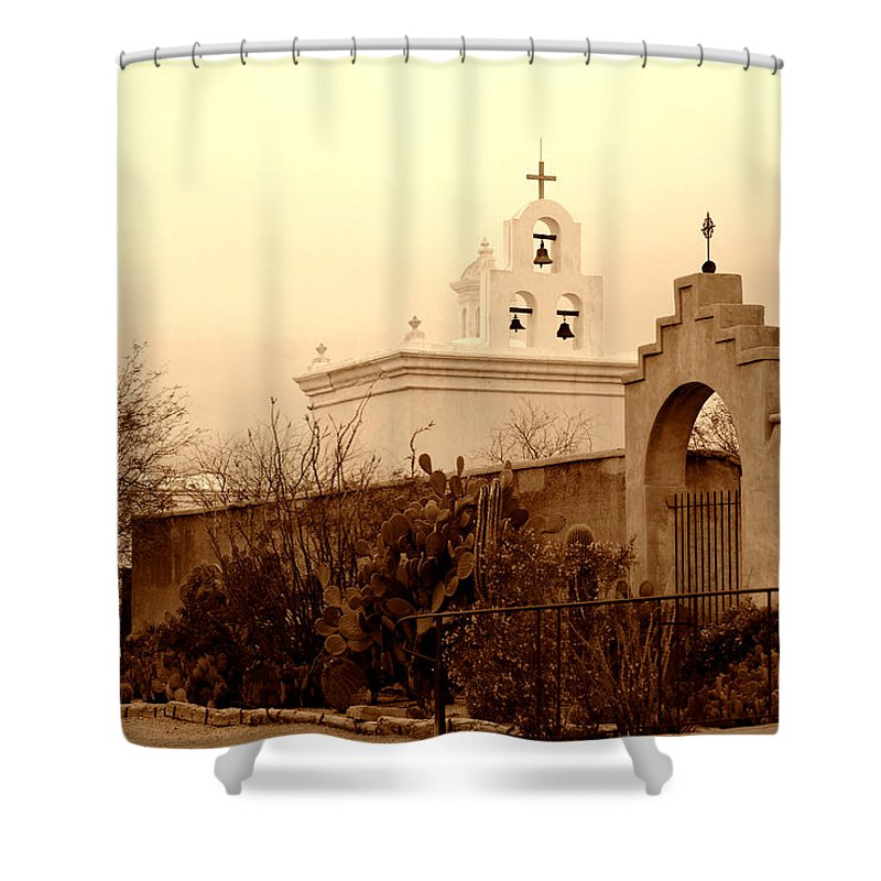 Photography Shower Curtain featuring the photograph Mission San Xavier Chapel by Susanne Van Hulst