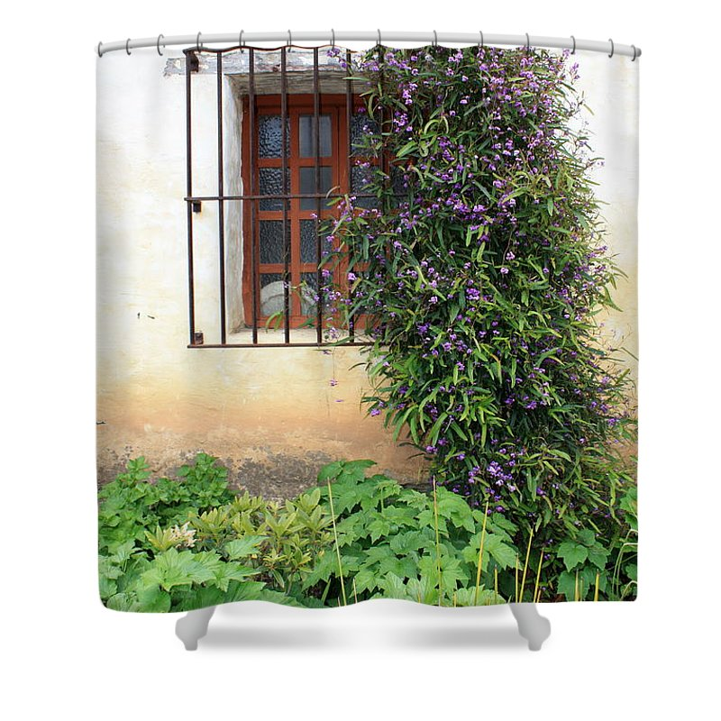 Mission Shower Curtain featuring the photograph Mission Window With Purple Flowers Vertical by Carol Groenen