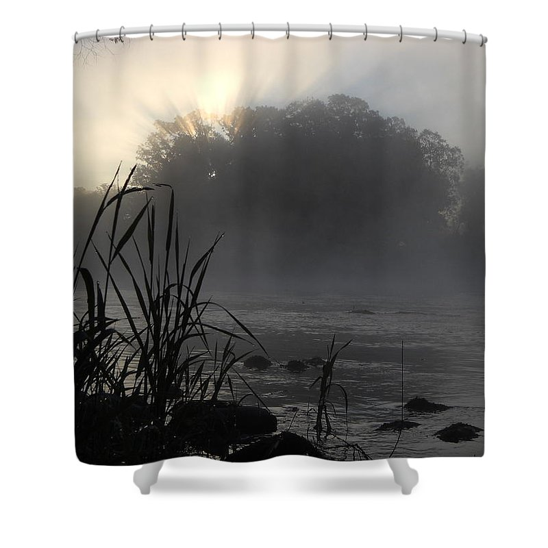 Mississippi River Shower Curtain featuring the photograph Mississippi River Dawn Sun Rays by Kent Lorentzen