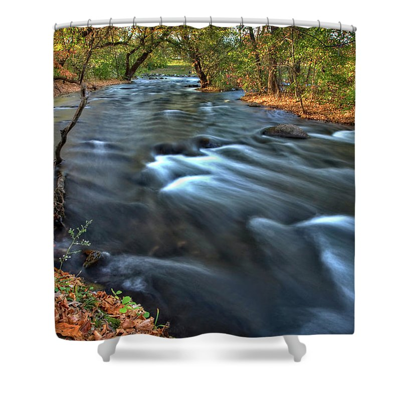 Mississippi Shower Curtain featuring the digital art Mississippi River Minneapolis by Mark Duffy