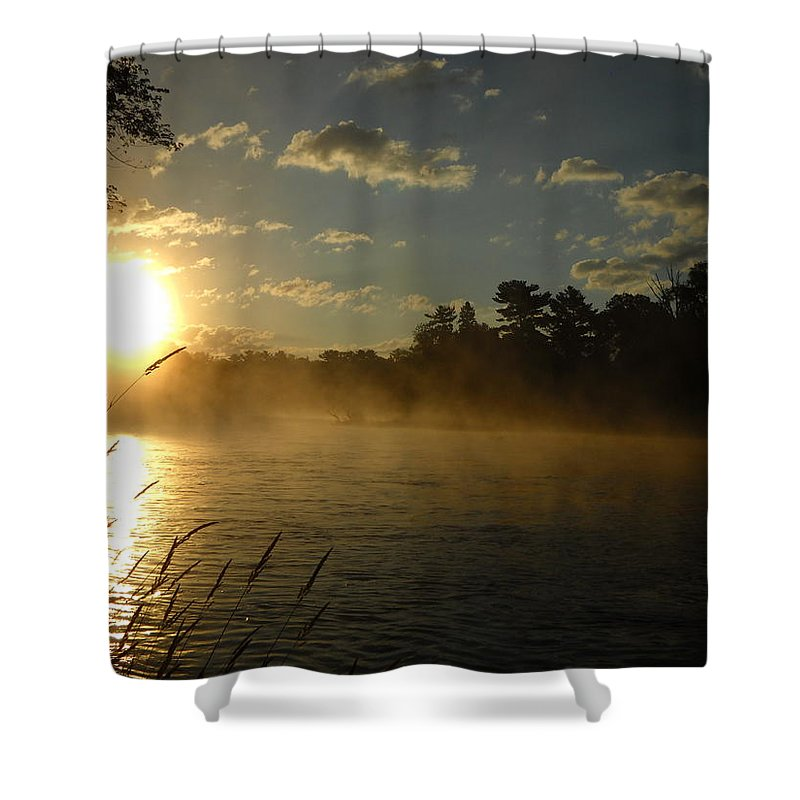 Mississippi River Shower Curtain featuring the photograph Mississippi River Sunrise Fog by Kent Lorentzen