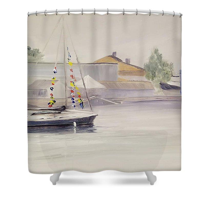 En Plein Air Shower Curtain featuring the painting Mist-bound by Susan Hanna