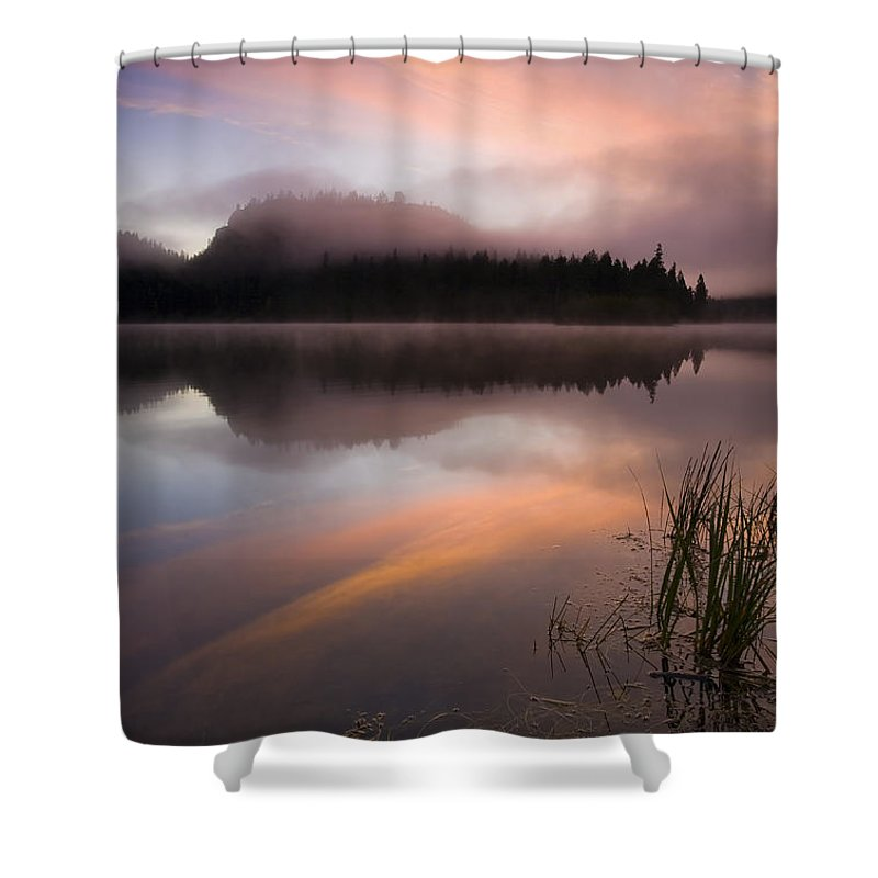 Sunrise Shower Curtain featuring the photograph Misty Dawn by Mike Dawson