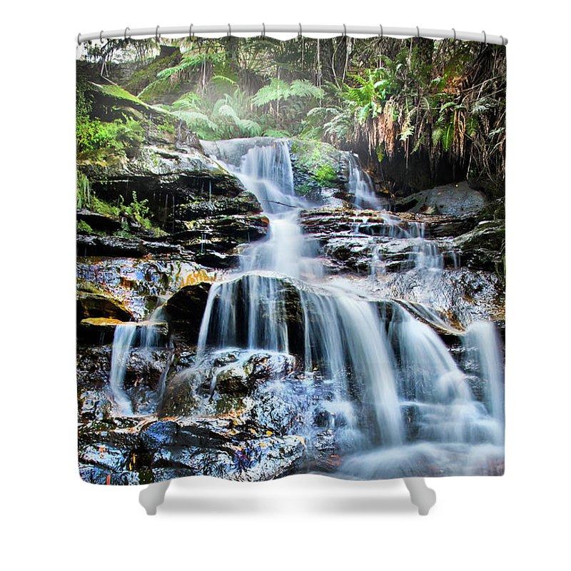 Australian Waterfalls Shower Curtain featuring the photograph Misty Falls by Az Jackson