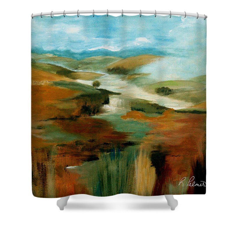 Abstract Shower Curtain featuring the painting Misty Hills by Ruth Palmer