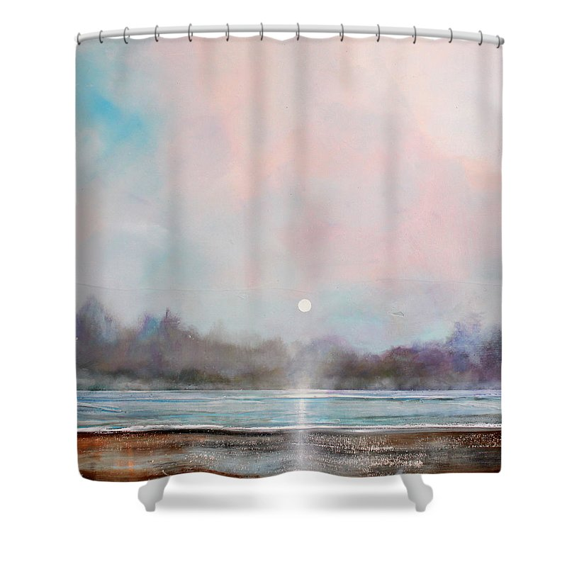Lake Shower Curtain Featuring The Painting Misty By Toni Grote