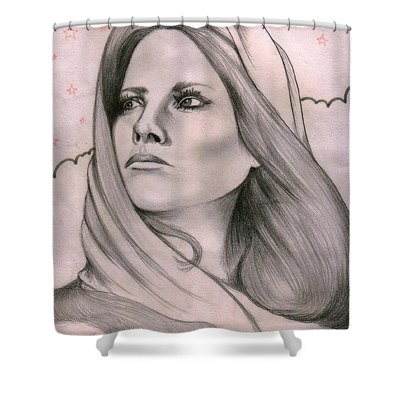 Portrait Shower Curtain featuring the drawing Misty by Marco Morales