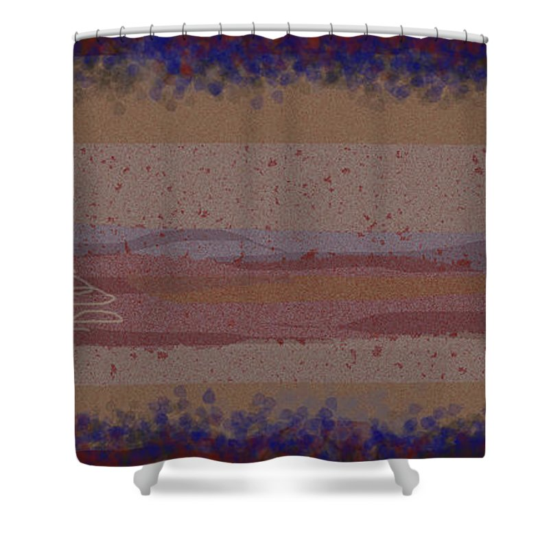 Abstract Shower Curtain featuring the painting Misty Moisty Landscape Abstraction by Anne Cameron Cutri