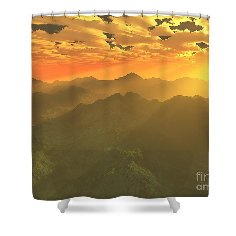 Computer Art Shower Curtain featuring the digital art Misty Mornings In Neverland by Gaspar Avila