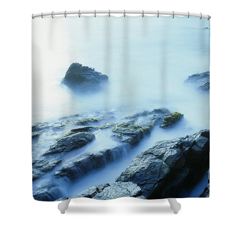 Abstract Shower Curtain featuring the photograph Misty Ocean by Larry Dale Gordon - Printscapes