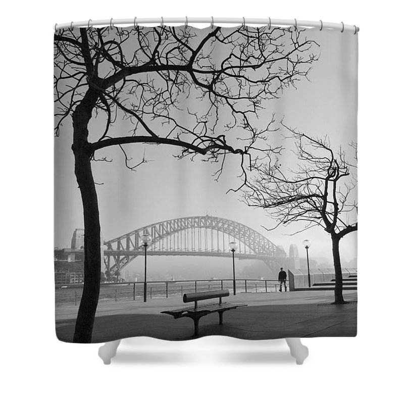 Sydney Harbour Bridge Mist Australia Shower Curtain featuring the photograph Misty Sydney Morning by Sheila Smart Fine Art Photography
