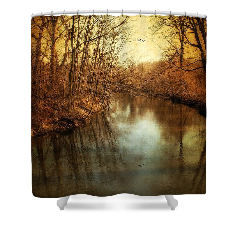 Landscape Shower Curtain featuring the photograph Misty Waters by Jessica Jenney