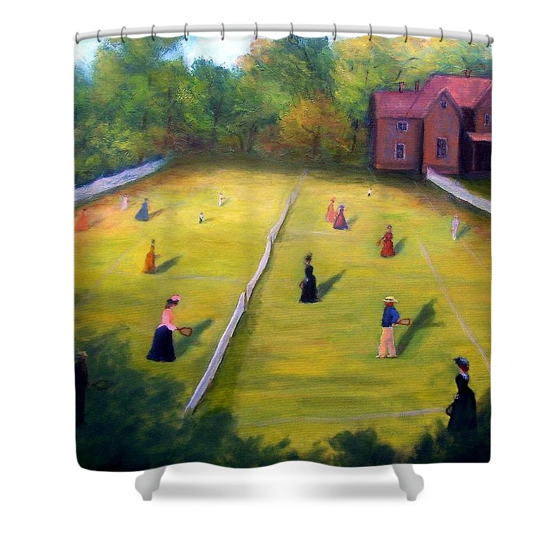 Tennis Art Shower Curtain featuring the painting Mixed Doubles by Gail Kirtz