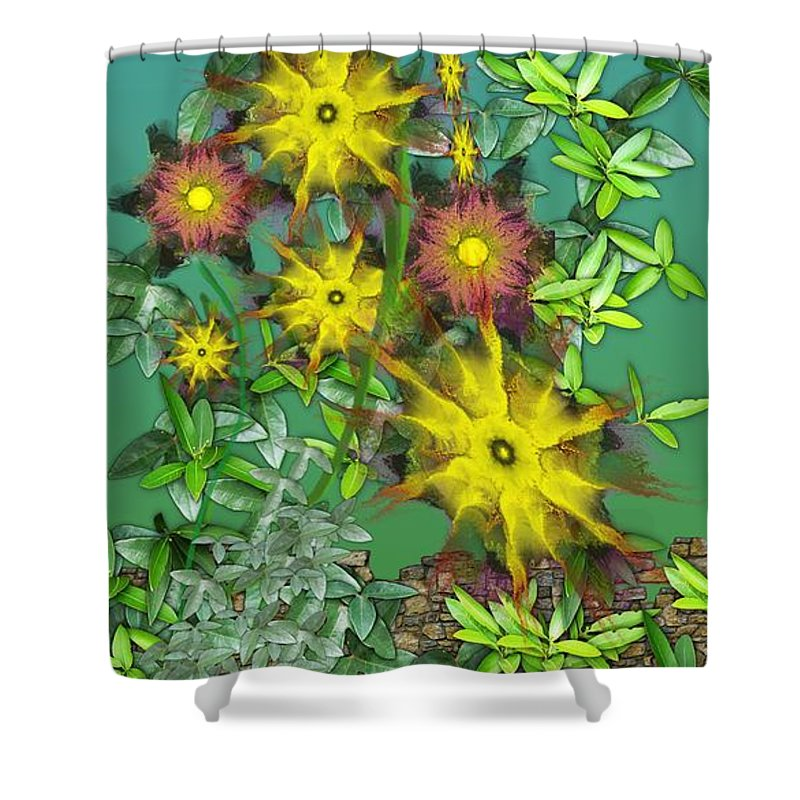 Flowers Shower Curtain featuring the digital art Mixed Flowers by David Lane