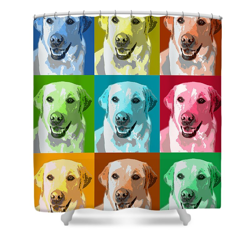 Americana Shower Curtain featuring the photograph Golden Retriever Warhol by Marilyn Hunt