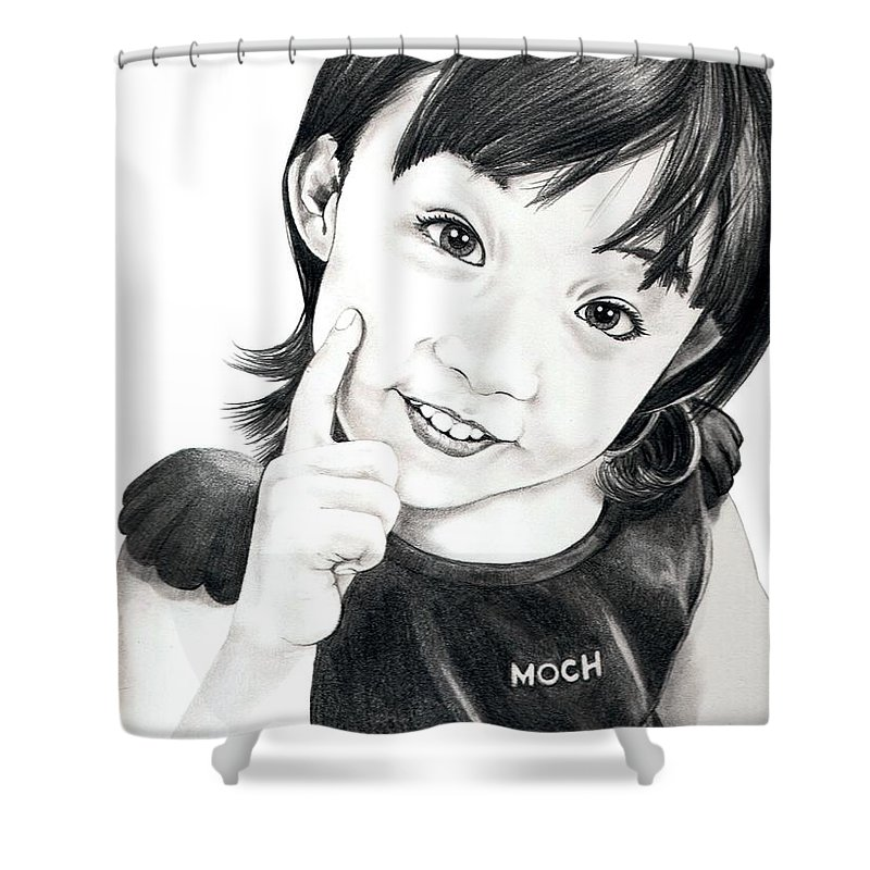 Pencil Shower Curtain featuring the drawing Moch by Murphy Elliott