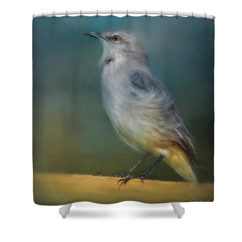Jai Johnson Shower Curtain featuring the painting Mockingbird On A Windy Day by Jai Johnson