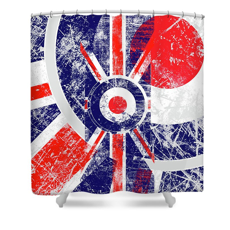 Mod Shower Curtain Featuring The Digital Art Roundel Union Jack Flag In Grunge Distressed Style