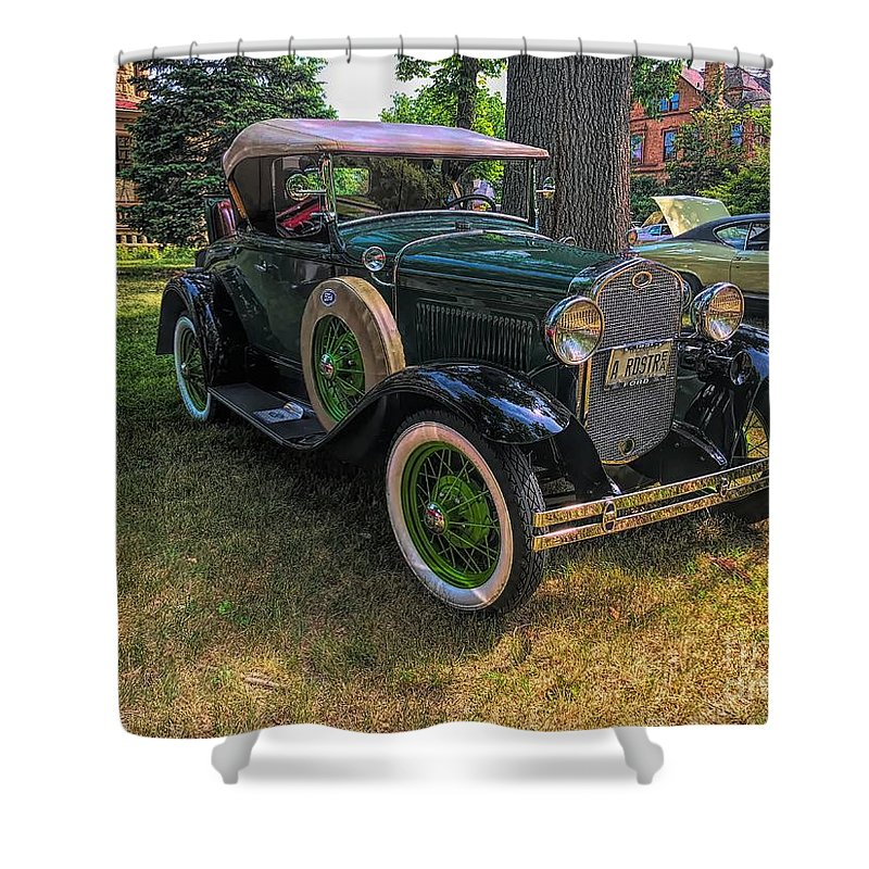 Model A Ford Shower Curtain featuring the photograph 1928 Model A Ford by Luther Fine Art