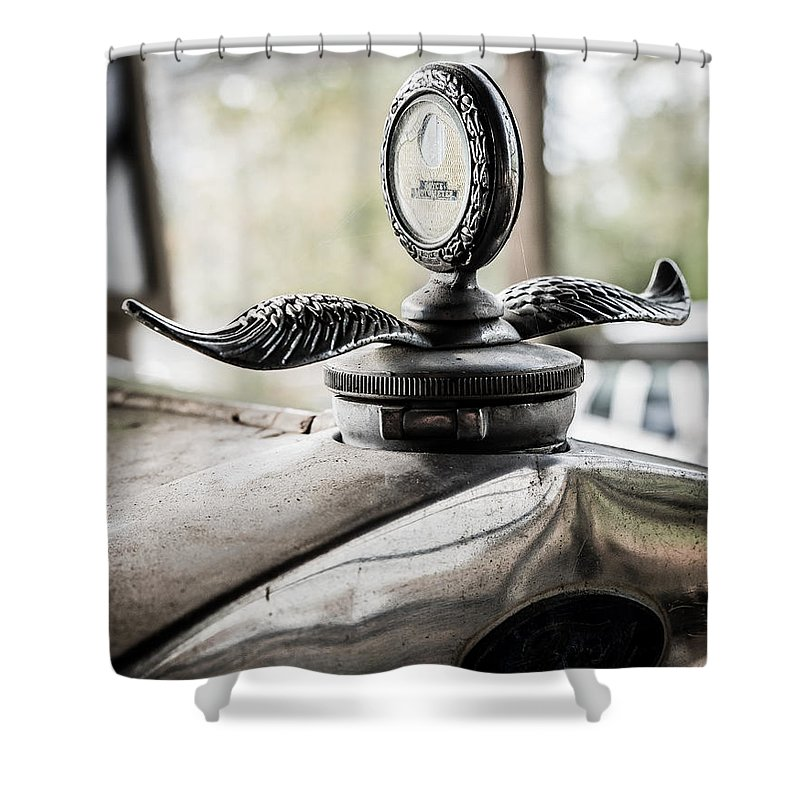 Model A Ford Shower Curtain featuring the photograph Model A Ford Hood Ornament by Alicia Collins