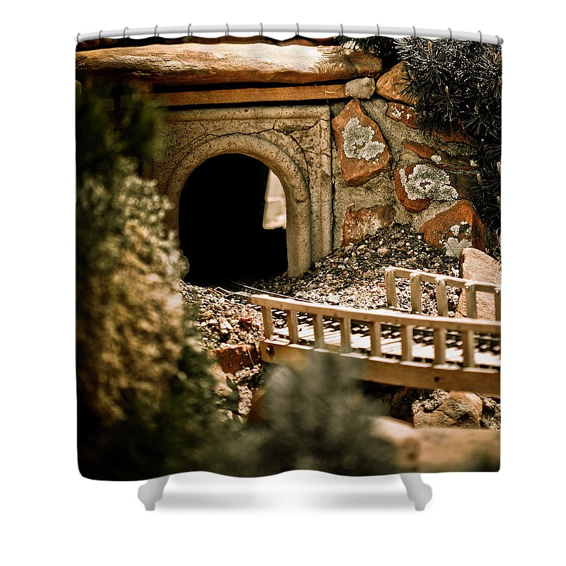 Train Shower Curtain featuring the photograph Model Train Tunnel 2 by Marilyn Hunt