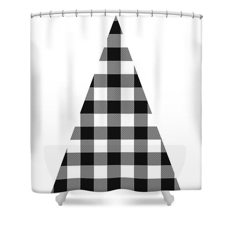 Modern Black And White Tree 2 Art By Linda Woods Shower Curtain For