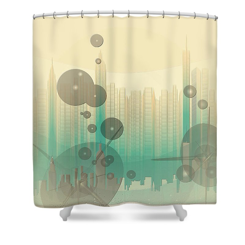 Modern City Abstract Shower Curtain featuring the photograph Modern City Abstract by Robert G Kernodle