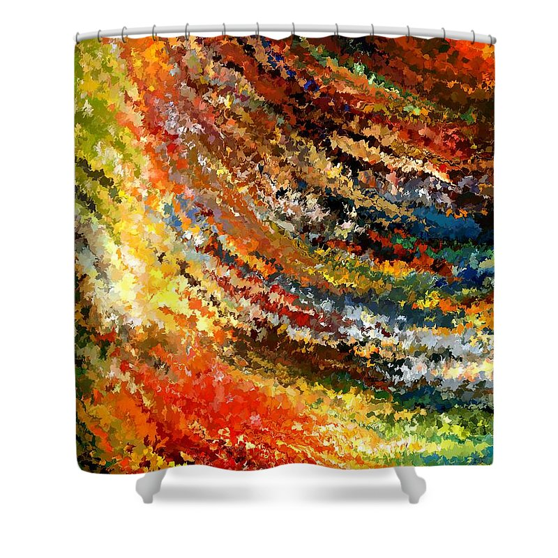 Contemporary Shower Curtain featuring the painting Modern Composition 07 by Rafi Talby