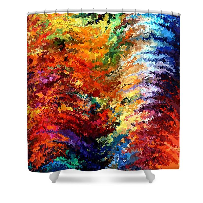 Contemporary Shower Curtain featuring the painting Modern Composition 14 by Rafi Talby