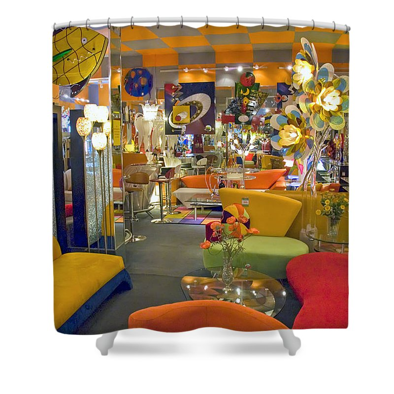 Modern Deco Furniture Store Interior Shower Curtain featuring the photograph Modern Deco Furniture Store Interior by David Zanzinger