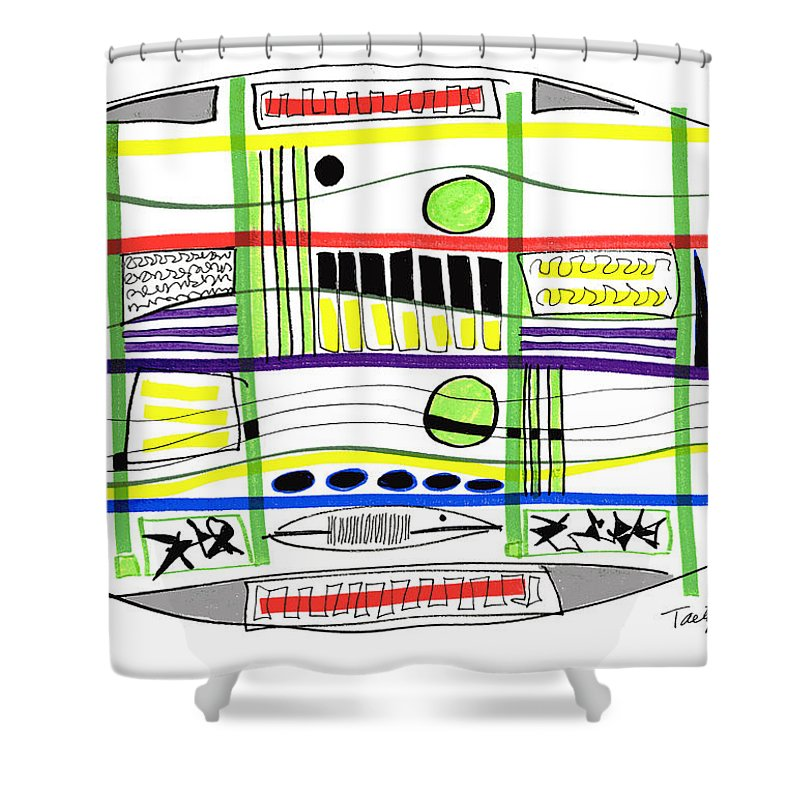 Modern Drawing Shower Curtain featuring the drawing Modern Drawing Fifteen by Lynne Taetzsch