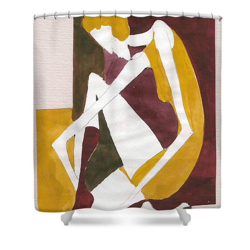 Woman Shower Curtain featuring the painting Modern Greek Goddess by Maya Manolova