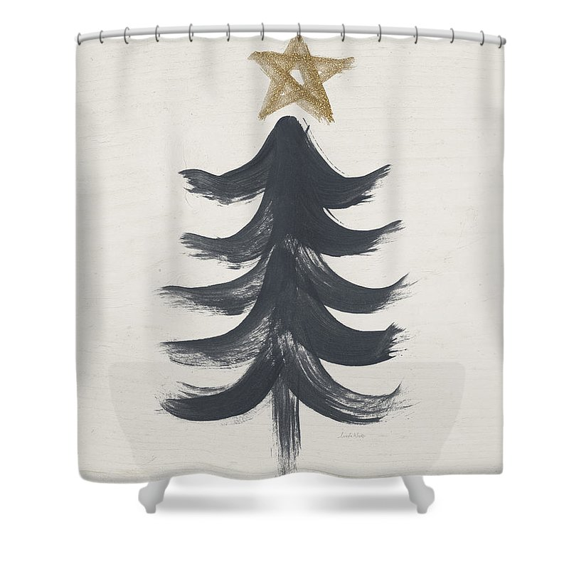 Contemporary Shower Curtain featuring the painting Modern Primitive Black and Gold Tree 1- Art by Linda Woods by Linda Woods