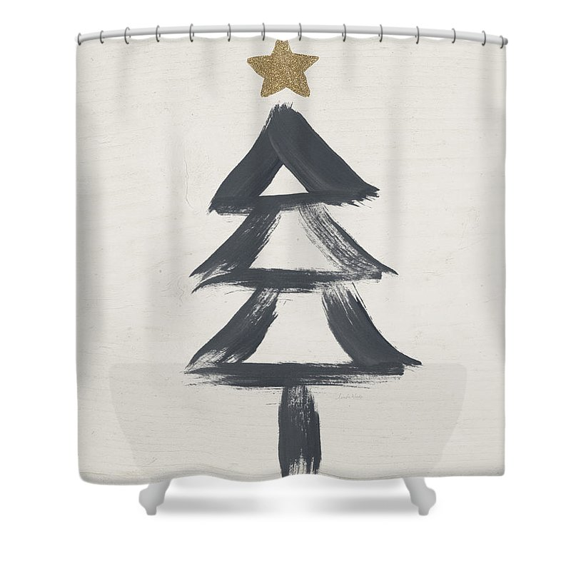 Contemporary Shower Curtain featuring the painting Modern Primitive Black and Gold Tree 2- Art by Linda Woods by Linda Woods