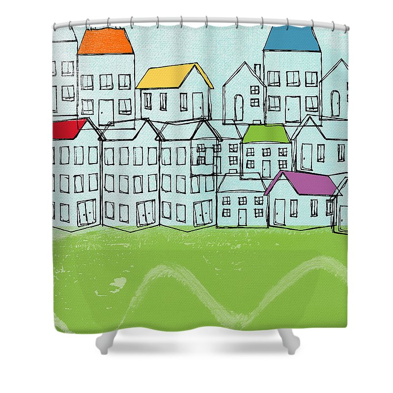 Abstract Landscape Shower Curtain featuring the painting Modern Village by Linda Woods