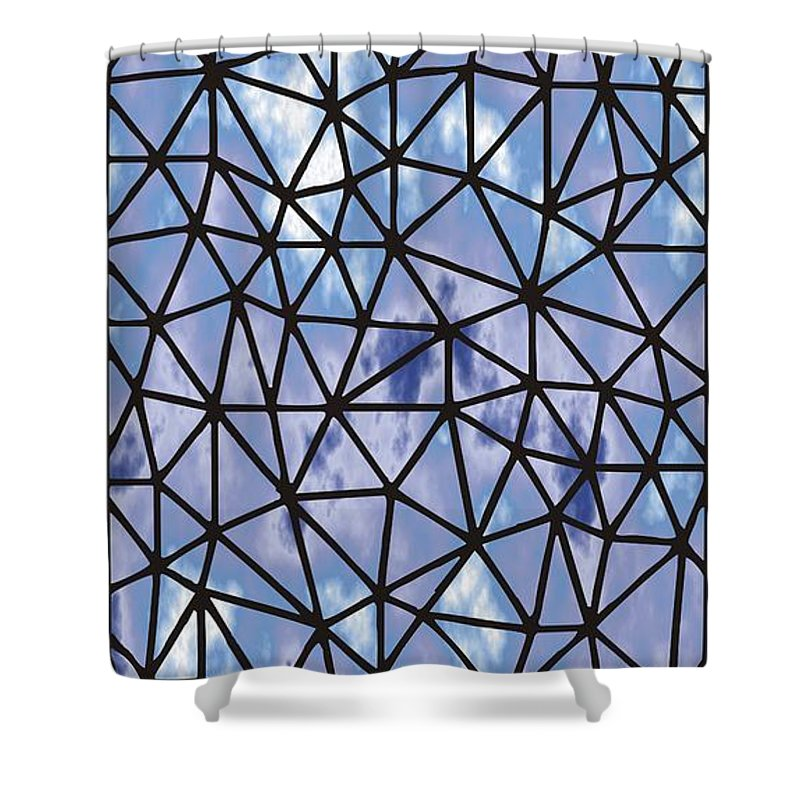 Modern Web Shower Curtain featuring the digital art Modern Web by Priscilla Wolfe