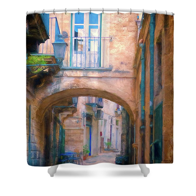 Italy Shower Curtain featuring the photograph Modica Street by Claude LeTien