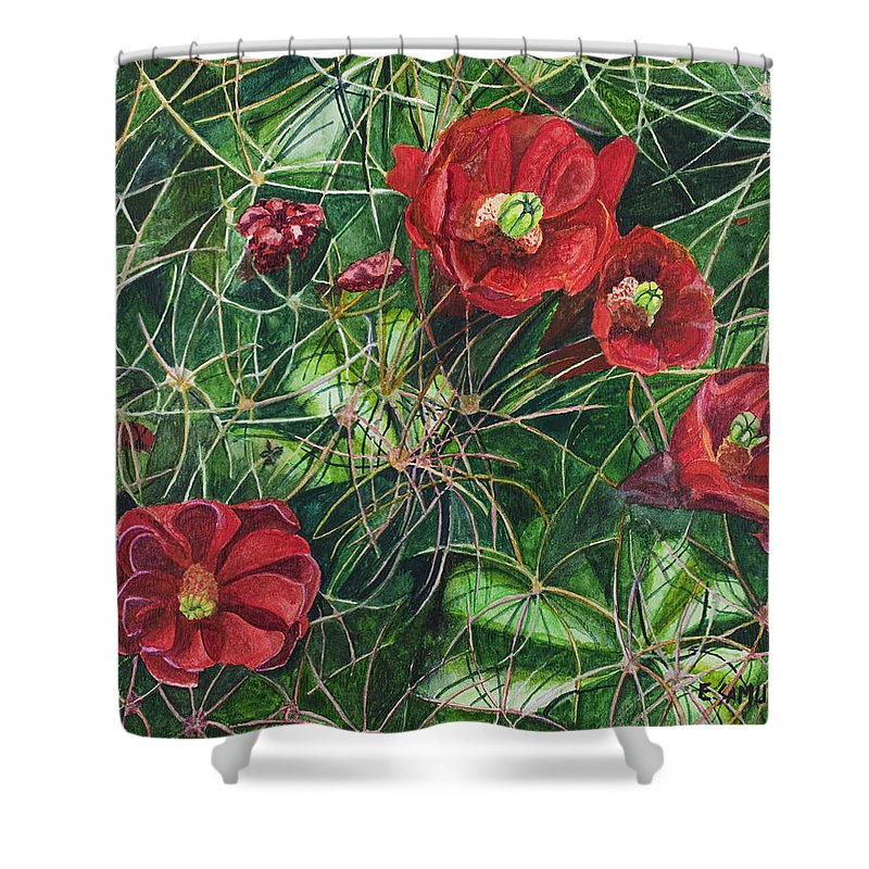 Mohave Shower Curtain featuring the painting Mohave Mound Cactus by Eric Samuelson