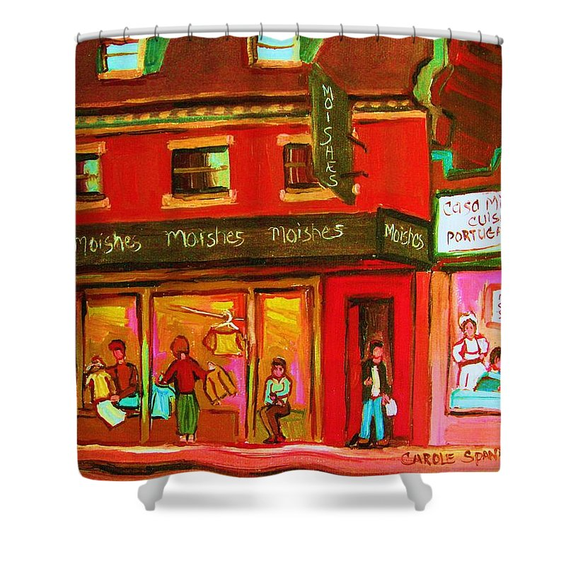 Moishes Shower Curtain featuring the painting Moishes Steakhouse On The Main by Carole Spandau