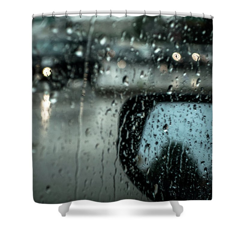 Rainy Drive Shower Curtain featuring the photograph Moisture by David Sutton