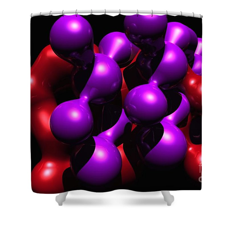 Abstract Shower Curtain featuring the digital art Molecular Abstract by David Lane