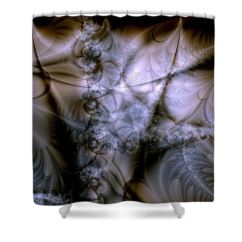 Chocolate Shower Curtain featuring the digital art Molecular Cacao by Casey Kotas