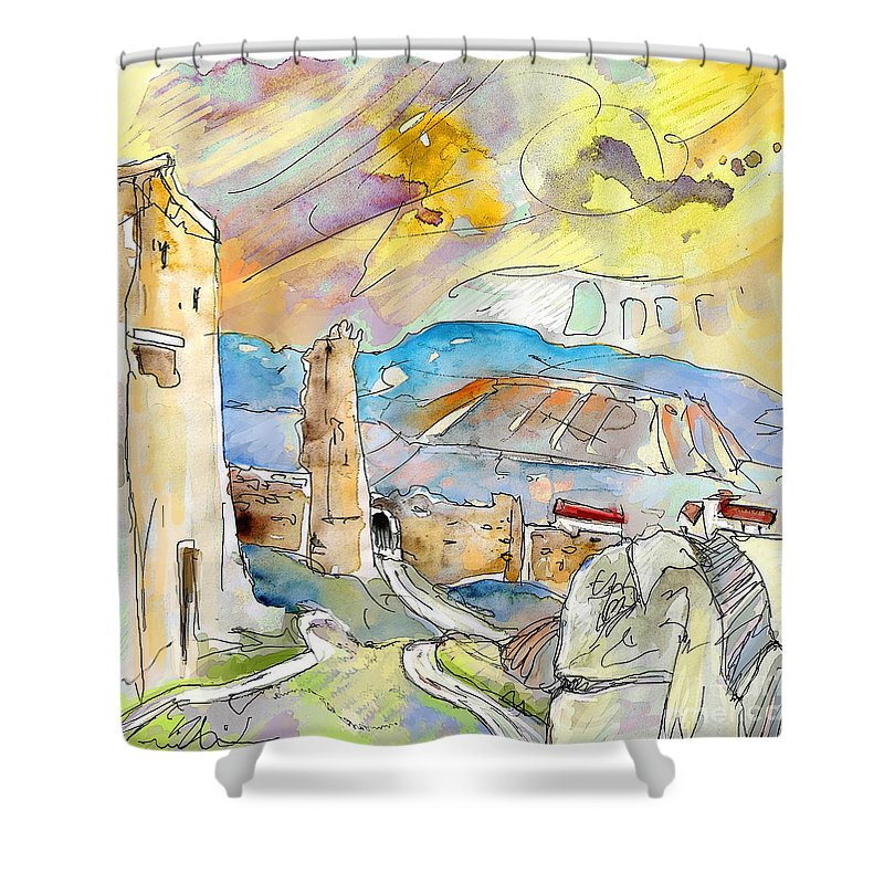 Travel Sketch Shower Curtain featuring the painting Molina De Aragon Spain 03 by Miki De Goodaboom