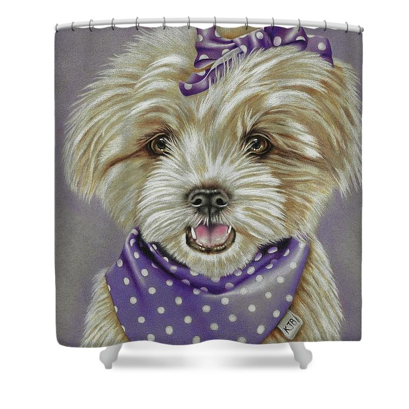 Dog Shower Curtain featuring the drawing Molly The Maltese by Karrie J Butler