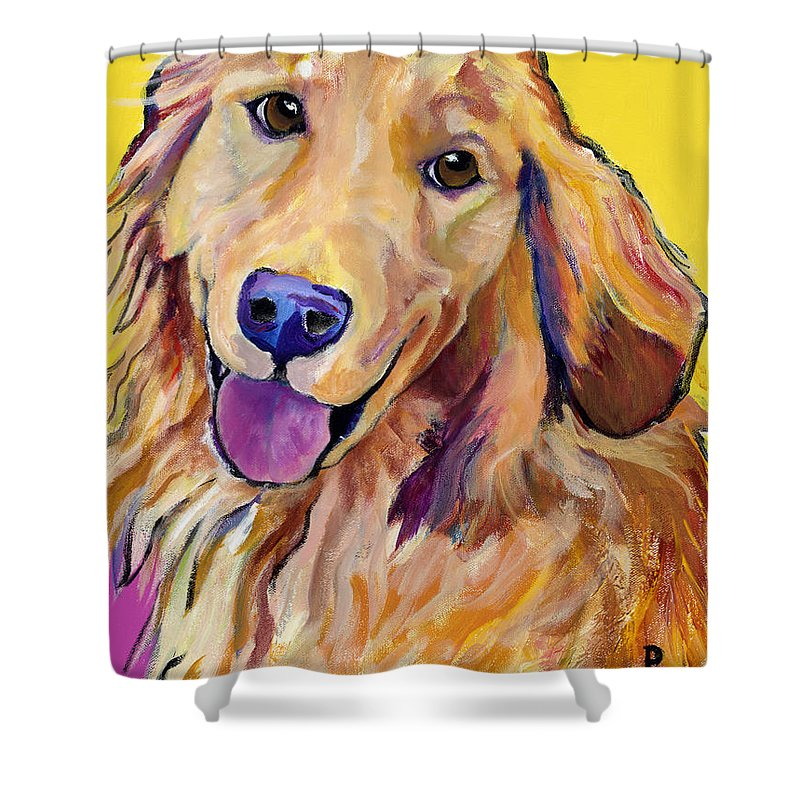 Acrylic Paintings Shower Curtain featuring the painting Molly by Pat Saunders-White