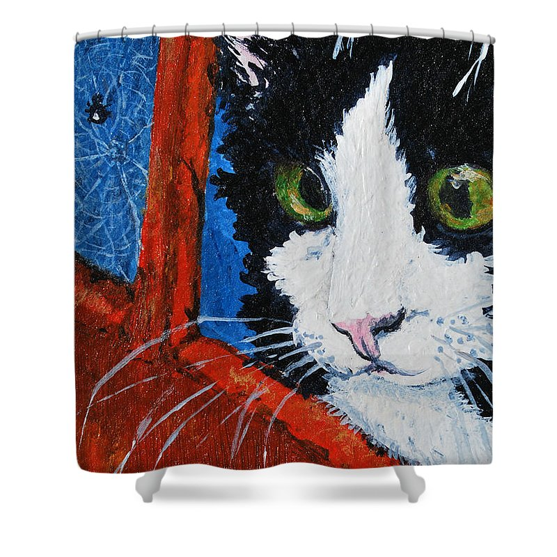 Cat Shower Curtain featuring the painting Molly by Reina Resto